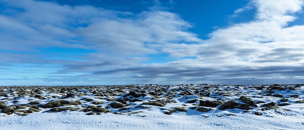 Volcanic lava mounds field like lunar landscape between Vik and Kirkjubaejarklaustur close by Katla volcano in South Iceland
