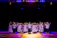 O Faaa choir performing during the Heiva i Tahiti (July cultural festival), Place Toata, Papeete, Tahiti, French Polynesia.