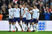 Goal - Raheem Sterling of England celebrates scoring his hat-trick goal to give a 4-0 lead to the home team during the UEFA European 2020 Qualifier match between England and Czech Republic at Wembley Stadium, London, England on 22 March 2019.