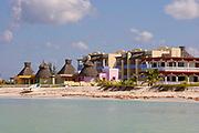 Colourful Beachfront Hotel Cabana, Blue Sea and White Sandy Beach, Celestun, Yucatan Peninsula, Gulf of Mexico 2007 NR