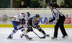 06.12.2015, Messestadion, Dornbirn, AUT, EBEL, Dornbirner Eishockey Club vs Fehervar AV 19, 28. Runde, im Bild Gegroet Nagy, (Feherva AV19, #16) und James Arniel, ((Dornbirner Eishockey Club, #09)// during the Erste Bank Icehockey League 28th round match between Dornbirner Eishockey Club and Fehervar AV 19 at the Messestadion in Dornbirn, Austria on 2015/12/06, EXPA Pictures © 2015, PhotoCredit: EXPA/ Peter Rinderer