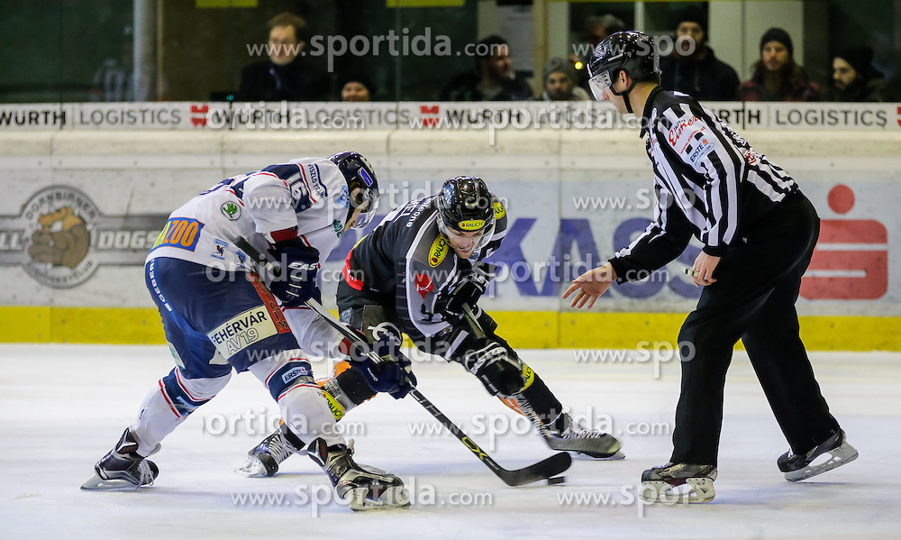06.12.2015, Messestadion, Dornbirn, AUT, EBEL, Dornbirner Eishockey Club vs Fehervar AV 19, 28. Runde, im Bild Gegroet Nagy, (Feherva AV19, #16) und James Arniel, ((Dornbirner Eishockey Club, #09)// during the Erste Bank Icehockey League 28th round match between Dornbirner Eishockey Club and Fehervar AV 19 at the Messestadion in Dornbirn, Austria on 2015/12/06, EXPA Pictures © 2015, PhotoCredit: EXPA/ Peter Rinderer