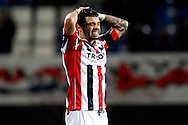 Onderwerp/Subject: Willem II - Eredivisie<br /> Reklame:  <br /> Club/Team/Country: <br /> Seizoen/Season: 2014/2015<br /> FOTO/PHOTO: Bruno ANDRADE ( Bruno Fernandes ANDRADE DE BRITO ) of Willem II dejected. (Photo by PICS UNITED)<br /> <br /> Trefwoorden/Keywords: <br /> #03 #09 $64 &plusmn;1401974349562<br /> Photo- &amp; Copyrights &copy; PICS UNITED <br /> P.O. Box 7164 - 5605 BE  EINDHOVEN (THE NETHERLANDS) <br /> Phone +31 (0)40 296 28 00 <br /> Fax +31 (0) 40 248 47 43 <br /> http://www.pics-united.com <br /> e-mail : sales@pics-united.com (If you would like to raise any issues regarding any aspects of products / service of PICS UNITED) or <br /> e-mail : sales@pics-united.com   <br /> <br /> ATTENTIE: <br /> Publicatie ook bij aanbieding door derden is slechts toegestaan na verkregen toestemming van Pics United. <br /> VOLLEDIGE NAAMSVERMELDING IS VERPLICHT! (&copy; PICS UNITED/Naam Fotograaf, zie veld 4 van de bestandsinfo 'credits') <br /> ATTENTION:  <br /> &copy; Pics United. Reproduction/publication of this photo by any parties is only permitted after authorisation is sought and obtained from  PICS UNITED- THE NETHERLANDS