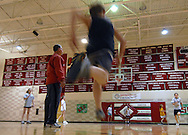 11/7/07 Smith Center, KS.Gym teacher Mike Rogers, who played football for Smith Center High School, played college football, then came back to coach. He is an assistant coach...Many banners line the walls detailing the accomplishments of the teams at Smith Center High School..(Chris Machian/Prairie Pixel Group)