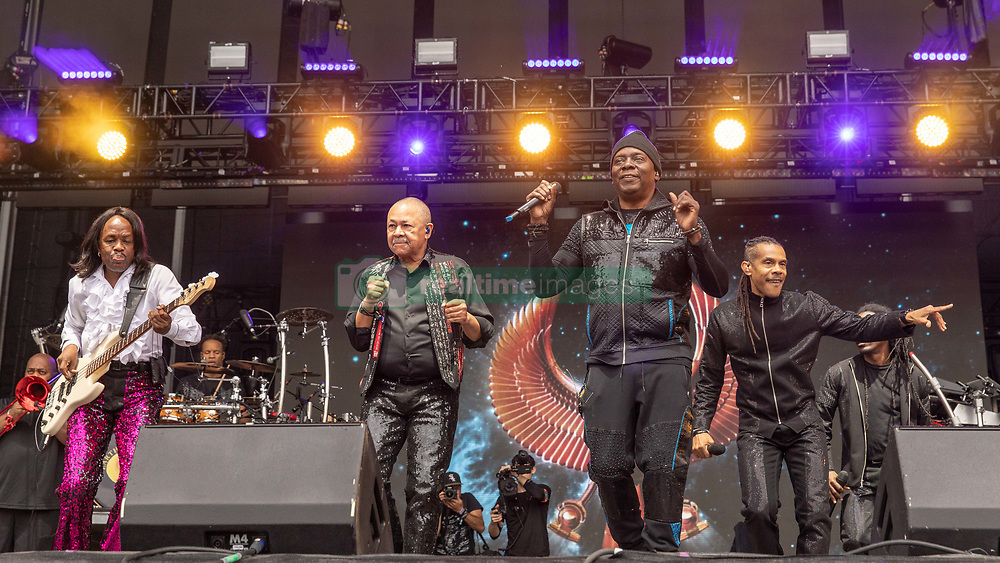 May 25, 2018 - Napa, California, U.S - VERDINE WHITE, RALPH JOHNSON, PHILIP BAILEY and B. DAVID WHITWORTH of Earth, Wind and Fire during BottleRock Music Festival at Napa Valley Expo in Napa, California (Credit Image: © Daniel DeSlover via ZUMA Wire)