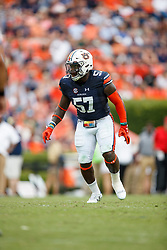 Auburn Tigers linebacker Deshaun Davis (57) during an NCAA football game against the Mississippi Rebels, Saturday, October 7, 2017, in Auburn, AL. Auburn won 44-23. (Paul Abell via Abell Images for Chick-fil-A Peach Bowl)