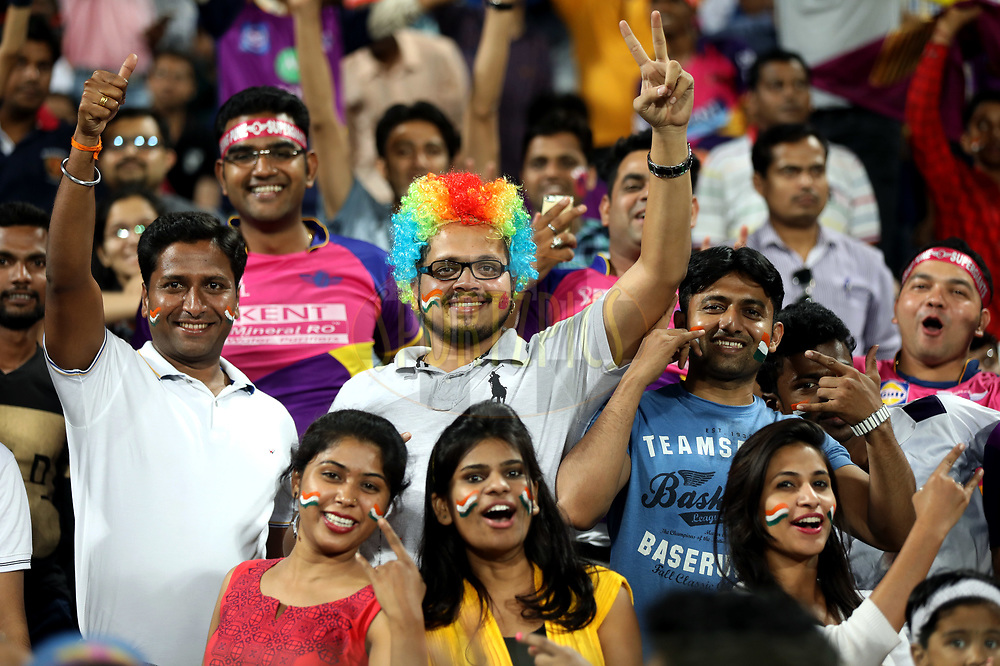 Fans enjoy during match 9 of the Vivo 2017 Indian Premier League between the Rising Pune Supergiants and the Delhi Daredevils held at the MCA Pune International Cricket Stadium in Pune, India on the 11th April 2017<br /> <br /> Photo by Sandeep Shetty- IPL - Sportzpics