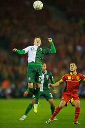 BRUSSELS, BELGIUM - Tuesday, October 15, 2013: Wales' youngest ever international 16-year-old Harry Wilson in action against Belgium during the 2014 FIFA World Cup Brazil Qualifying Group A match at the Koning Boudewijnstadion. (Pic by David Rawcliffe/Propaganda)