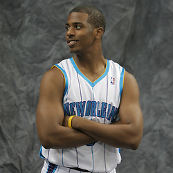 26 September 2008: Chris Paul poses for a portrait during media day for the New Orleans Hornets at the New Orleans Arena in New Orleans, LA.