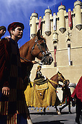 SPAIN / Castile and Leon / Segovia. Medieval recreations in Spain. The city recreated in 2004 the coronation of Isabel I of Castile. Street parade passing by Alcazar.....