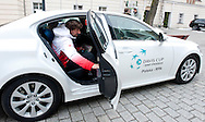 Physiotherapist Krzysztof Guzowski of Poland with official car by Lexus after official draw one day before the BNP Paribas Davis Cup 2013 between Poland and South Africa at MOSiR Hall in Zielona Gora on April 04, 2013...Poland, Zielona Gora, April 04, 2013..Picture also available in RAW (NEF) or TIFF format on special request...For editorial use only. Any commercial or promotional use requires permission...Photo by © Adam Nurkiewicz / Mediasport