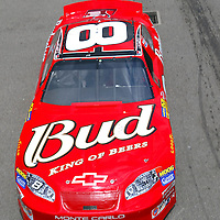 Dale Earnhardt, Jr. takes his Budweiser Chevrolet out to qualify at the California Speedway for the running of the Auto Club 500 NASCAR Winston Cup race in Fontana, California.
