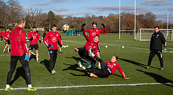CARDIFF, WALES - Monday, November 18, 2019: Wales' Connor Roberts and Ryan Hedges during a training session at the Vale Resort ahead of the final UEFA Euro 2020 Qualifying Group E match against Hungary. (Pic by David Rawcliffe/Propaganda)