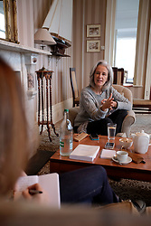 UK ENGLAND FOWEY 19FEB15 - Best-selling author Tatiana de Rosnay during interview with Le Parisien journalist Isabelle Spaak (L)  in Fowey, Cornwall, England. De Rosnay, author of 'Sarah's Key' and numerous other novels,  has recently completed a French biography of English novellist Daphne du Maurier who lived in Fowey.<br /> <br /> Fowey, a small fishing and harbour village was the living place of famous English writer Daphne Du Maurier and many of her novels are based here.<br /> <br /> jre/Photo by Jiri Rezac<br /> <br /> © Jiri Rezac 2015