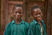 From left, twin brothers Hassan and Alimamy in Moribaya village, Magbema chiefdom, Kambia district, Sierra Leone on April 3, 2017.