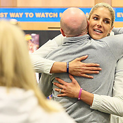 Elena Delle Donne hugs her former Ursuline head coach John Noonan during a book signing Saturday, March 10, 2018, at Barnes and Noble in Wilmington Delaware.