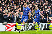 Goal Chelsea defender César Azpilicueta (28) scores a goal and celebrates 2-1 during the Premier League match between Chelsea and Arsenal at Stamford Bridge, London, England on 21 January 2020.