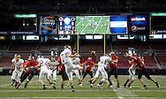 26 Nov. 2010 -- ST. LOUIS -- Mound City High School quarterback Lucas Schawang (7) punts the ball during MSHSAA 8-man football championship game at the Edward Jones Dome Friday, Nov. 26, 2010. Image © copyright 2010 Sid Hastings.