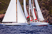 Atrevida and Peter Von Seestermuhe sailing in the Antigua Classic Yacht Regatta, Old Road Race.