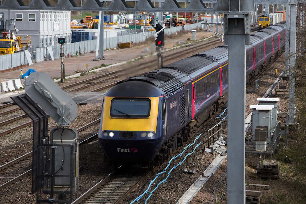 A First great western 125 High Speed Train travels along the train track between Didcot and London.   Didcot, United Kingdom. (photo by Andrew Aitchison / In pictures via Getty Images)