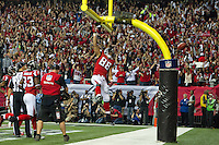 20 January 2013: Tight end (88) TOny Gonzalez of the Atlanta Falcons scores a touchdown and celebrates against the San Francisco 49ers during the first half of the 49ers 28-24 victory over the Falcons in the NFC Championship Game at the Georgia Dome in Atlanta, GA.