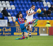 Inverness' Ross Draper and Dundee&rsquo;s Tom Hateley battle for the ball  - Inverness Caledonian Thistle v Dundee in the Ladbrokes Scottish Premiership at Caledonian Stadium, Inverness.Photo: David Young<br /> <br />  - &copy; David Young - www.davidyoungphoto.co.uk - email: davidyoungphoto@gmail.com