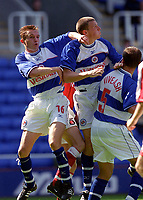 Phil Parkinson, Barry Hunter and Adrian Viveash (Reading) jump fr the ball. Reading v Charlton Athletic, Pre-Season Friendly, 5/08/2000. Credit: Colorsport / Paul Roberts