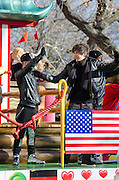 NEW YORK, NY, USA, Nov. 28, 2013. Austin Mahone waves from a float during the 87th Annual Macy's Thanksgiving Day Parade.
