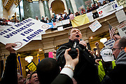 Teamsters President James Hoffa leads a protest in the State Capitol on February 23, 2011 in Madison, Wisconsin.