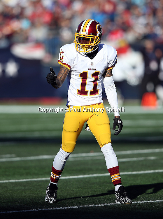 Washington Redskins wide receiver DeSean Jackson (11) gives a thumbs up as he gets set to go out for a pass during the 2015 week 9 regular season NFL football game against the New England Patriots on Sunday, Nov. 8, 2015 in Foxborough, Mass. The Patriots won the game 27-10. (©Paul Anthony Spinelli)