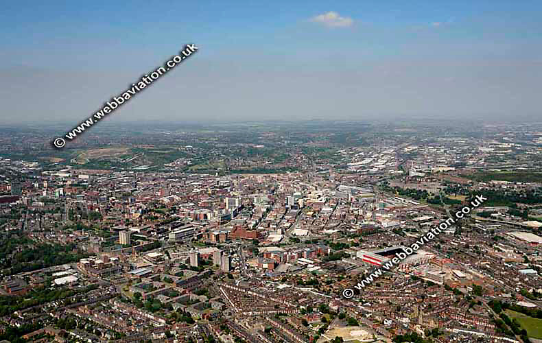 aerial photograph of Sheffield West Yorkshire England UK
