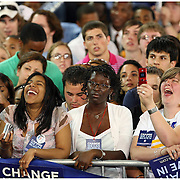 Supporters of Barack Obama listen to the Presidential candidate's speech Thursday at Minges Coliseum. (Jason A. Frizzelle)