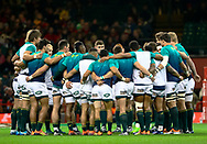 South Africa players huddle during the pre match warm up<br /> <br /> Photographer Simon King/Replay Images<br /> <br /> Under Armour Series - Wales v South Africa - Saturday 24th November 2018 - Principality Stadium - Cardiff<br /> <br /> World Copyright &copy; Replay Images . All rights reserved. info@replayimages.co.uk - http://replayimages.co.uk