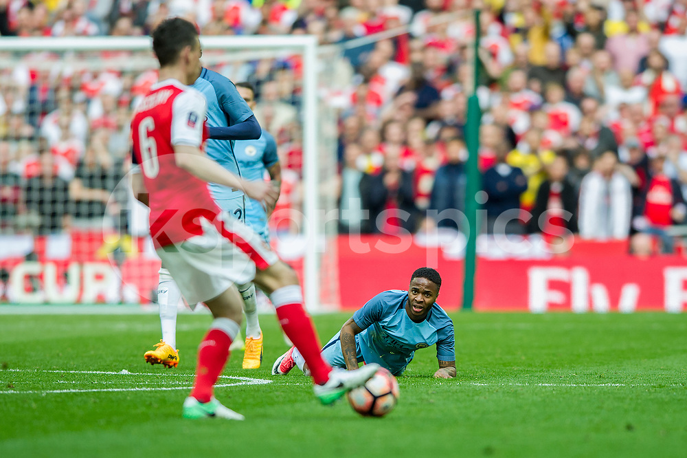 Raheem Sterling of Manchester City during the The FA Cup Semi Final match between Arsenal and Manchester City at Wembley Stadium, London, England on 23 April 2017. Photo by Salvio Calabrese.