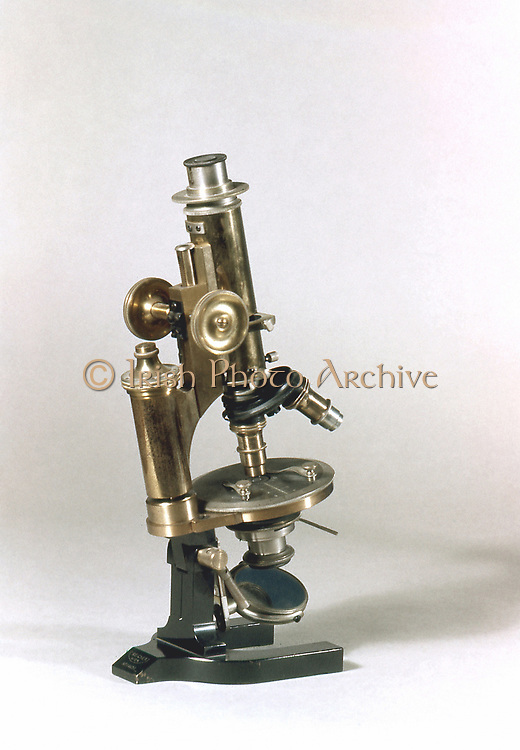Microscope with objectives of different powers which could be turned into viewing position as required. C Reichert, Vienna 1895.