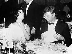 Actors Elizabeth Taylor and Richard Burton dining together, in a break from filming Cleopatra in Rome