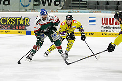 04.01.2015, Curt Frenzel Stadion, Augsburg, GER, DEL, Augsburger Panther vs Krefeld Pinguine, 35. Runde, im Bild l-r: im Zweikampf, Aktion, mit Dan DaSilva #22 (Augsburger Panther) und Steve Hanusch #42 (Krefeld Pinguine) // during Germans DEL Icehockey League 35th round match between Augsburger Panther and Krefeld Pinguine at the Curt Frenzel Stadion in Augsburg, Germany on 2015/01/04. EXPA Pictures © 2015, PhotoCredit: EXPA/ Eibner-Pressefoto/ Kolbert<br /> <br /> *****ATTENTION - OUT of GER*****