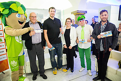 Mascot Lipko, Ivo Daneu, Marko Milic, Tatjana Jurisevic of Kompas, fan Aleksander and Gregor Skocir during press conference of Basketball Federation of Slovenia - KZS when signing a contract with Tourist agency Kompas for selling Eurobasket 2015 tickets, on March 2, 2015 in Ljubljana, Slovenia. Photo by Vid Ponikvar / Sportida