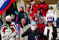 Fans of Slovenia during the Mixed 2x6 + 2x7,5km relay of the e.on IBU Biathlon World Cup on Saturday, December 19, 2010 in Pokljuka, Slovenia. The fourth e.on IBU World Cup stage is taking place in Rudno polje - Pokljuka, Slovenia until Sunday December 19, 2010. (Photo By Vid Ponikvar / Sportida.com)