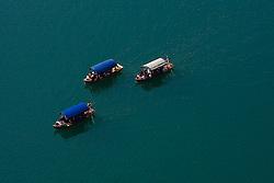 Boats Pletne, on April 25, 2010, at Lake Bled, Bled, Slovenia. (Photo by Vid Ponikvar / Sportida)