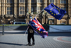 © Licensed to London News Pictures. 07/02/2018. London, UK.  Anti-Brexit protesters wave EU flags opposite Parliament as Prime Minister Theresa May chairs a meeting of the Brexit War Cabinet. Photo credit: Rob Pinney/LNP