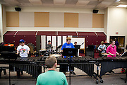 The Shadow Armada winterguard and winter drumline rehearse at the Oregon High School in Oregon, Wisconsin on December 30, 2011. .