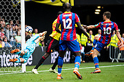 James McArthur (18) of Crystal Palace shoot hit the post  during the Premier League match between Watford and Crystal Palace at Vicarage Road, Watford, England on 21 April 2018. Picture by Sebastian Frej.