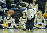 January 28, 2012: Purdue Boilermakers guard/forward Sam Ostarello (32) can't pull in a lose ball as she slides across the floor during the NCAA women's basketball game between the Purdue Boilermakers and the Iowa Hawkeyes at Carver-Hawkeye Arena in Iowa City, Iowa on Saturday, January 28, 2012.