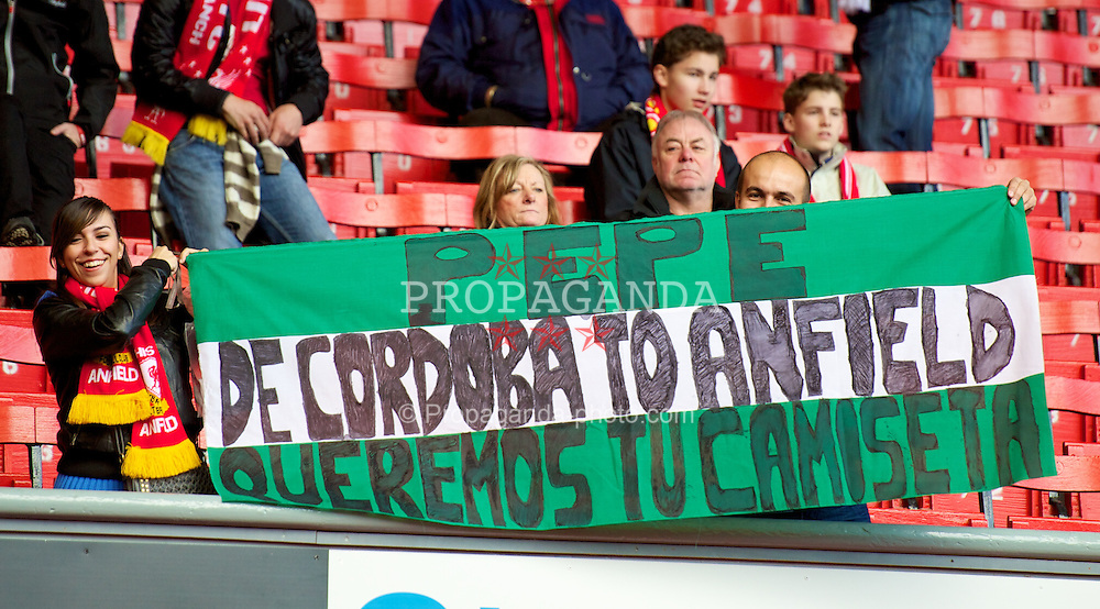 LIVERPOOL, ENGLAND - Saturday, March 3, 2012: Liverpool's supporters display a banner in support of goalkeeper Jose Reina during the Premiership match against Arsenal at Anfield. (Pic by David Rawcliffe/Propaganda)