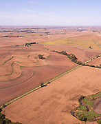 Aerial photograph of rural farmland in Montgomery County, Iowa, USA.