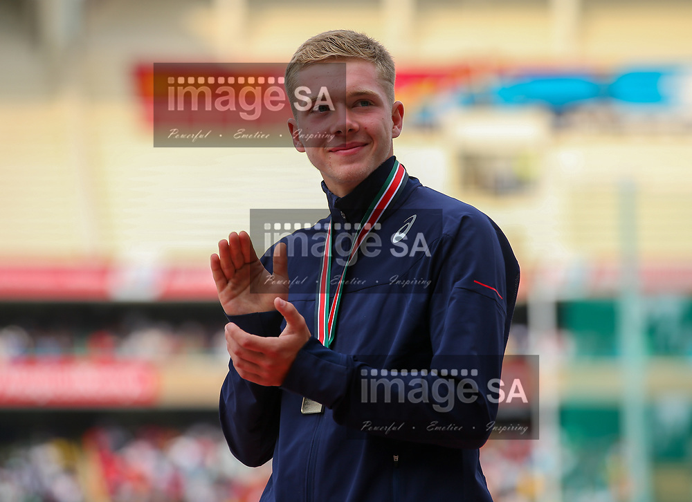 NAIROBI, KENYA - JULY 14: Steven Fauvel Clinch of France receives his gold medal in the mens decathlon during day 3 of the IAAF World U18 Championship held at Kasarani Stadium on July 14, 2017 in Nairobi, Kenya. (Photo by Roger Sedres/ImageSA/Gallo Images)