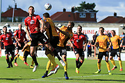 Steven Old of Morecambe wins a header at a corner kick during the EFL Sky Bet League 2 match between Morecambe and Newport County at the Globe Arena, Morecambe, England on 16 September 2017. Photo by Mick Haynes.