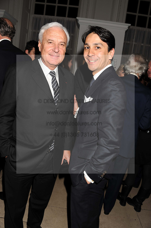 BERNARD FORNAS Chief Executive of Cartier and FRANCOIS LE TROQUER MD Cartier UK at a reception to present the new Cartier Tank Watch Collection held at The Orangery, Kensington Palace Gardens, London W8 on 19th April 2012.