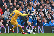 Brighton defender full back Liam Rosenior cuts inside Preston North End midfielder Adam Reach during the Sky Bet Championship match between Brighton and Hove Albion and Preston North End at the American Express Community Stadium, Brighton and Hove, England on 24 October 2015. Photo by Bennett Dean.